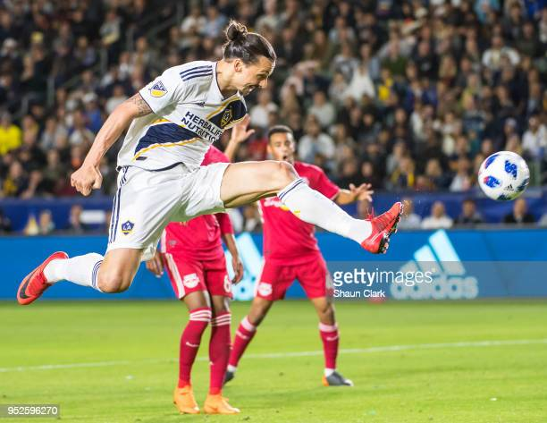 Zlatan Ibrahimovic of Los Angeles Galaxy scores a goal that was disallowed during the Los Angeles Galaxy's MLS match against New York Red Bulls at...