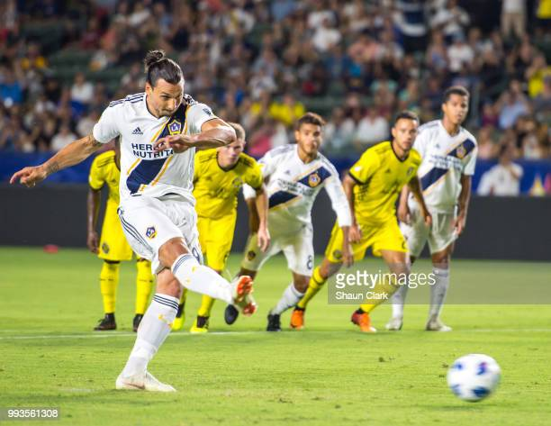 Zlatan Ibrahimovic of Los Angeles Galaxy scores a penalty kick during the Los Angeles Galaxy's MLS match against Columbus Crew at the StubHub Center...