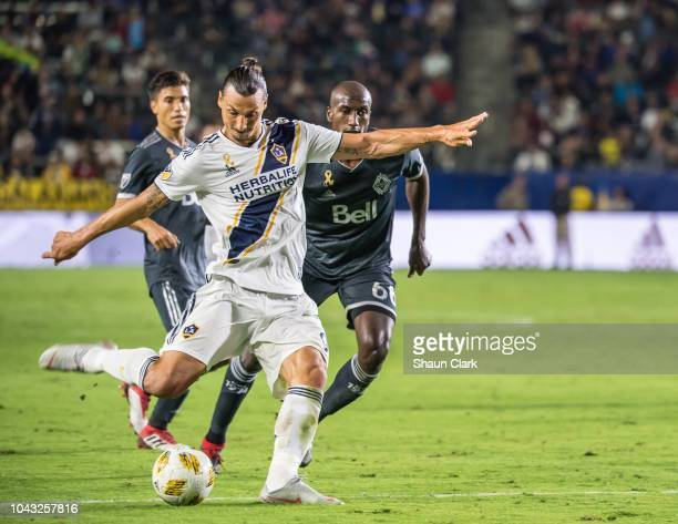 Zlatan Ibrahimovic of Los Angeles Galaxy scores his 2nd goal during the Los Angeles Galaxy's MLS match against Vancouver Whitecaps at the StubHub...