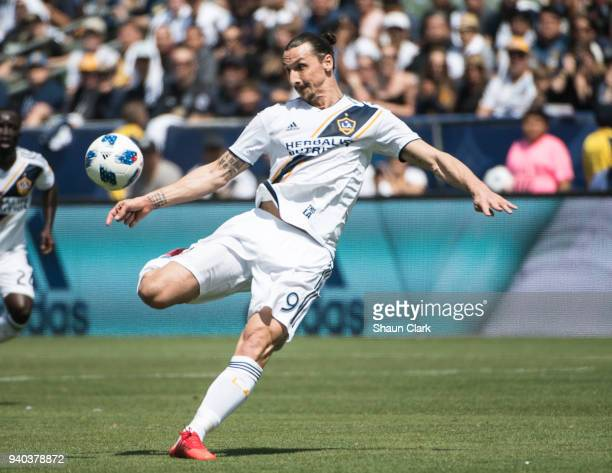 Zlatan Ibrahimovic of Los Angeles Galaxy scores his first goal for the Los Angeles Galaxy during the Los Angeles Galaxy's MLS match against Los...