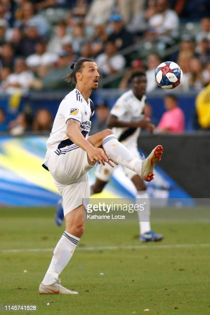 Zlatan Ibrahimovic of Los Angeles Galaxy settles the ball during the second half of a game against the Real Salt Lake at Dignity Health Sports Park...