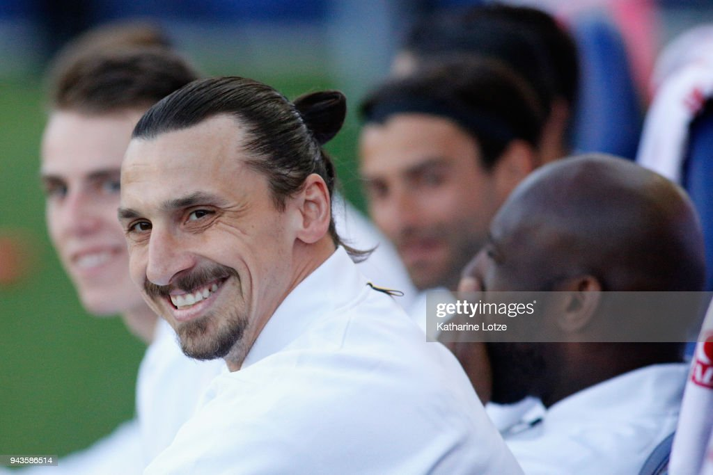 Zlatan Ibrahimovic #9 of Los Angeles Galaxy (L) smiles before a game against Sporting Kansas City at StubHub Center on April 8, 2018 in Carson, California.