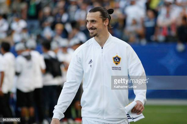 Zlatan Ibrahimovic of Los Angeles Galaxy smiles before a game against Sporting Kansas City at StubHub Center on April 8 2018 in Carson California