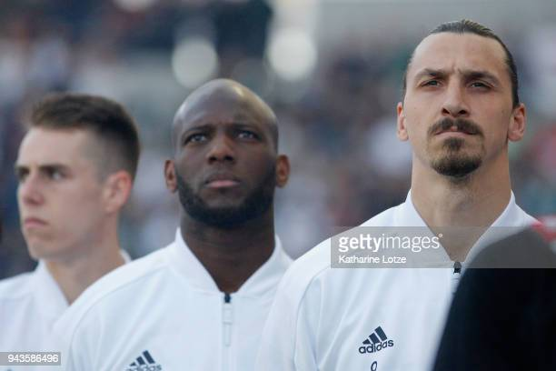 Zlatan Ibrahimovic of Los Angeles Galaxy stands during the national anthem before a game against Sporting Kansas City at StubHub Center on April 8...