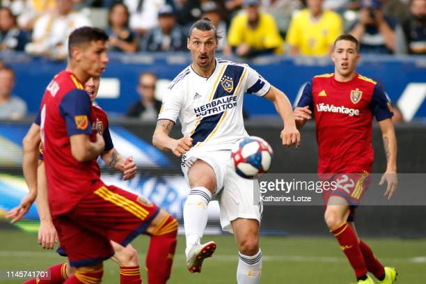 Zlatan Ibrahimovic of Los Angeles Galaxy takes a shot on goal during the second half of a game against Real Salt Lake at Dignity Health Sports Park...