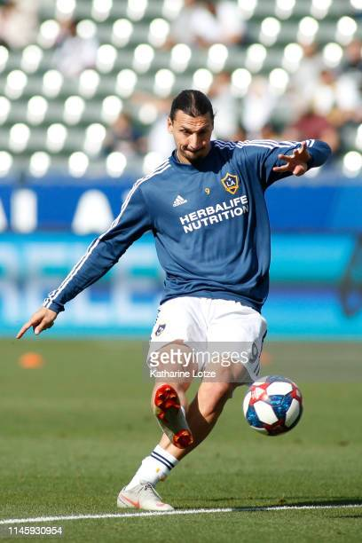 Zlatan Ibrahimovic of Los Angeles Galaxy takes a shot on goal during a warm up ahead of a game against Real Salt Lake at Dignity Health Sports Park...