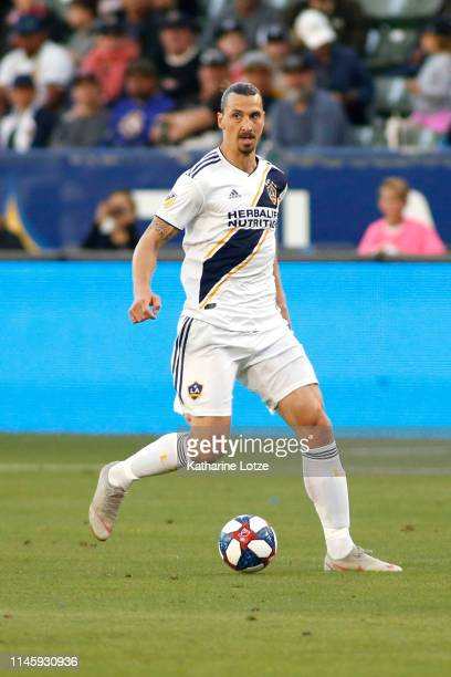 Zlatan Ibrahimovic of Los Angeles Galaxy takes the ball down the field during a game against Real Salt Lake at Dignity Health Sports Park on April 28...
