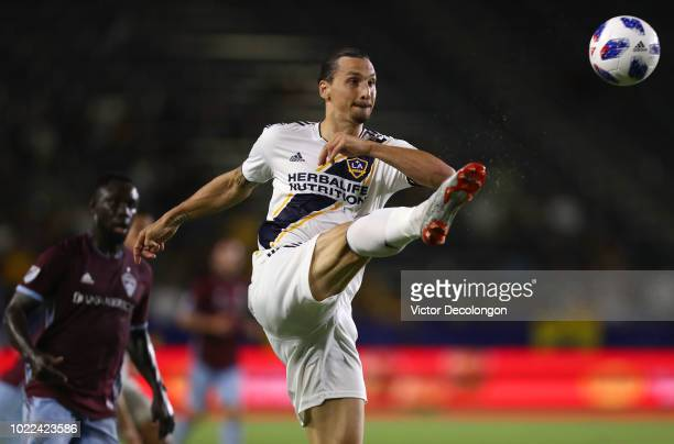 Zlatan Ibrahimovic of Los Angeles Galaxy volleys a cross during the second half of the MLS match against the Colorado Rapids at StubHub Center on...