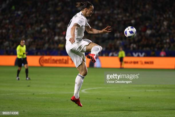 Zlatan Ibrahimovic of Los Angeles Galaxy volleys a cross during the second half of the MLS match against the Atlanta United at StubHub Center on...