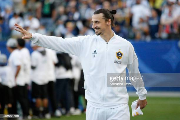 Zlatan Ibrahimovic of Los Angeles Galaxy waives to fans before a game against Sporting Kansas City at StubHub Center on April 8 2018 in Carson...