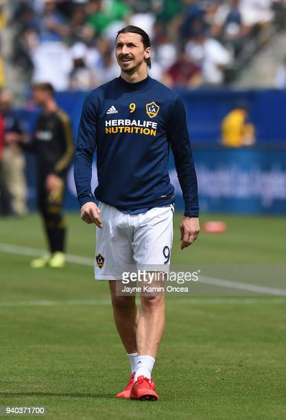 Zlatan Ibrahimovic of Los Angeles Galaxy warms up before the game against the Los Angeles FC at StubHub Center on March 31 2018 in Carson California