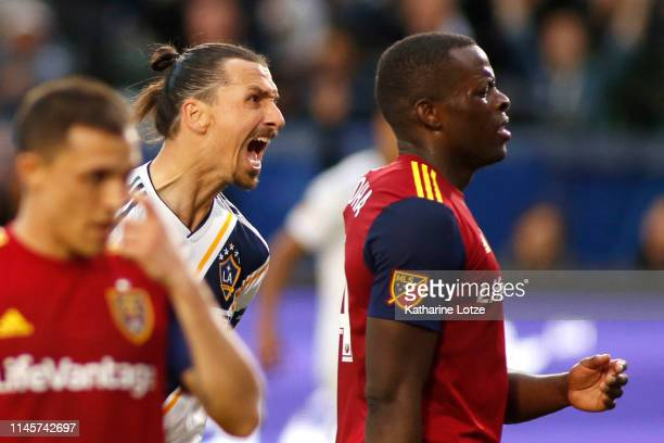 Zlatan Ibrahimovic of Los Angeles Galaxy yells at Nedum Onuoha of Real Salt Lake following Ibrahimovic's goal during the second half of a game at...