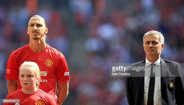Zlatan Ibrahimovic of Manchester United and Manager of Manchester United Jose Mourinho line up before kick off during The FA Community Shield match...