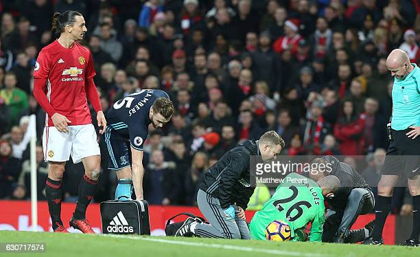 Zlatan Ibrahimovic of Manchester United argues with referee Lee Mason after having a goal ruled out for high feet during the Premier League match...