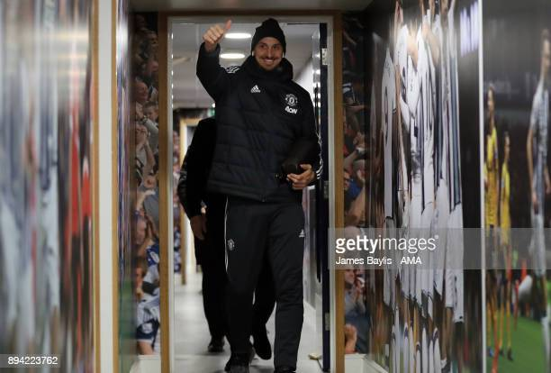 Zlatan Ibrahimovic of Manchester United arrives at the stadium during the Premier League match between West Bromwich Albion and Manchester United at...