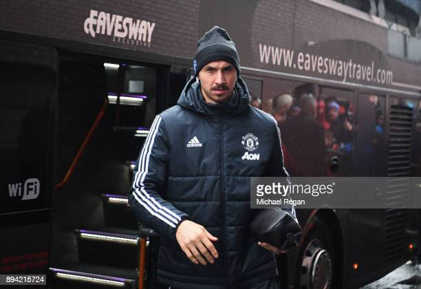 Zlatan Ibrahimovic of Manchester United arrives for the Premier League match between West Bromwich Albion and Manchester United at The Hawthorns on...