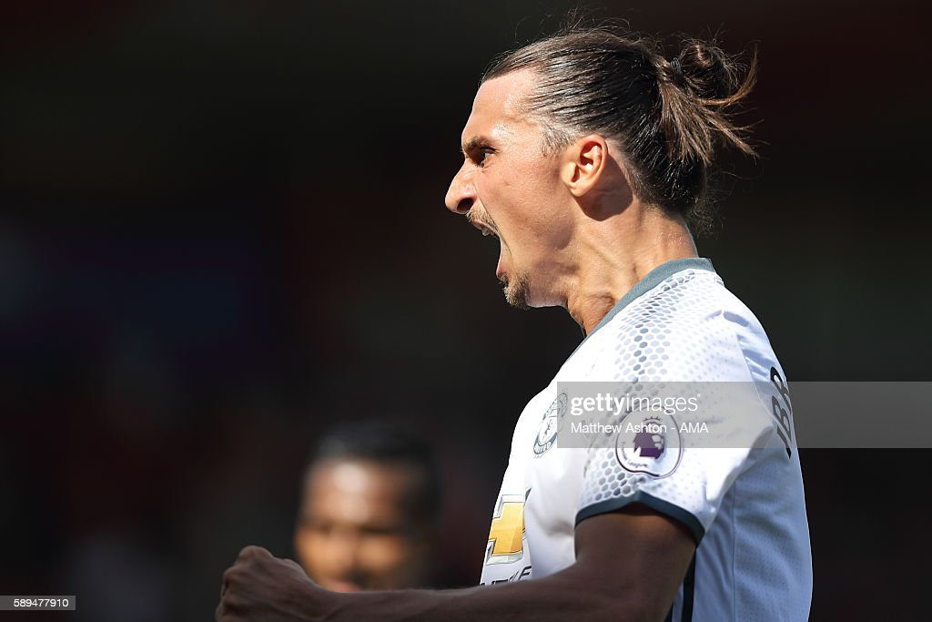 Zlatan Ibrahimovic of Manchester United celebrates after scoring a goal to make it 0-3 during the Premier League match between Manchester City and Sunderland at Etihad Stadium on August 13, 2016 in Manchester, England.