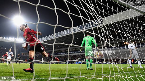Zlatan Ibrahimovic of Manchester United celebrates after scoring his sides first goal with a header during the Premier League match between West...