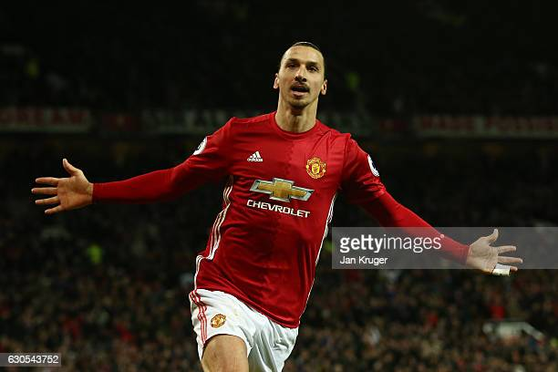 Zlatan Ibrahimovic Of Manchester United Celebrates After Scoring His Teams Second Goal During The Premier League