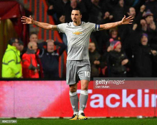 Zlatan Ibrahimovic of Manchester United celebrates after scoring his sides first goal during the Carabao Cup QuarterFinal match between Bristol City...