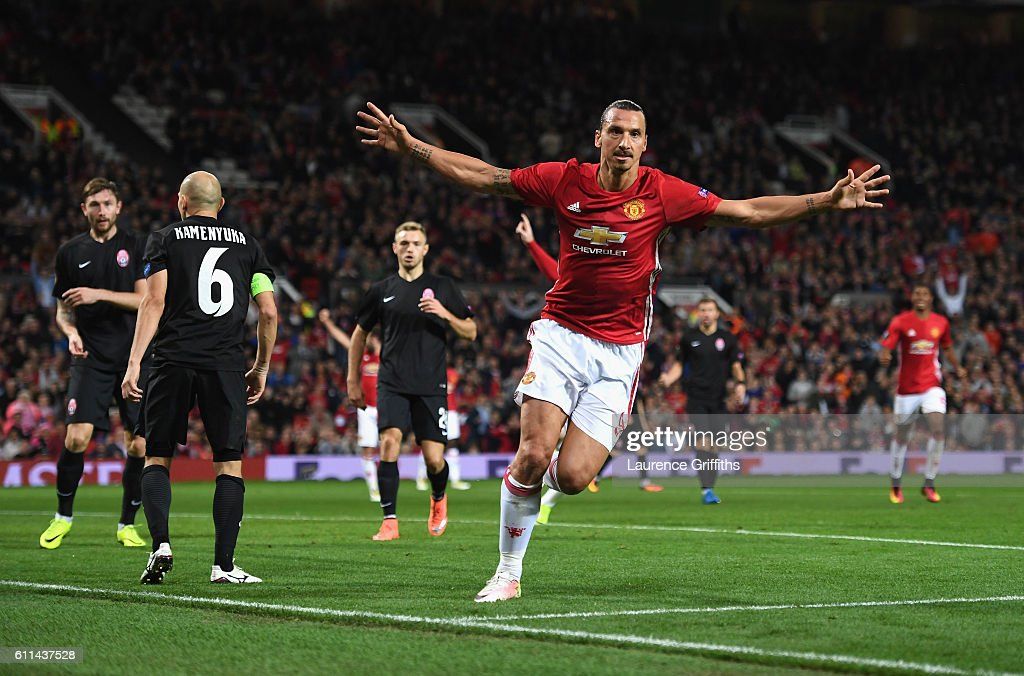 Zlatan Ibrahimovic of Manchester United celebrates after scoring the opening goal during the UEFA Europa League group A match between Manchester United FC and FC Zorya Luhansk at Old Trafford on September 29, 2016 in Manchester, England.