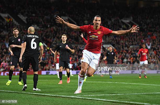 Zlatan Ibrahimovic of Manchester United celebrates after scoring the opening goal during the UEFA Europa League group A match between Manchester...