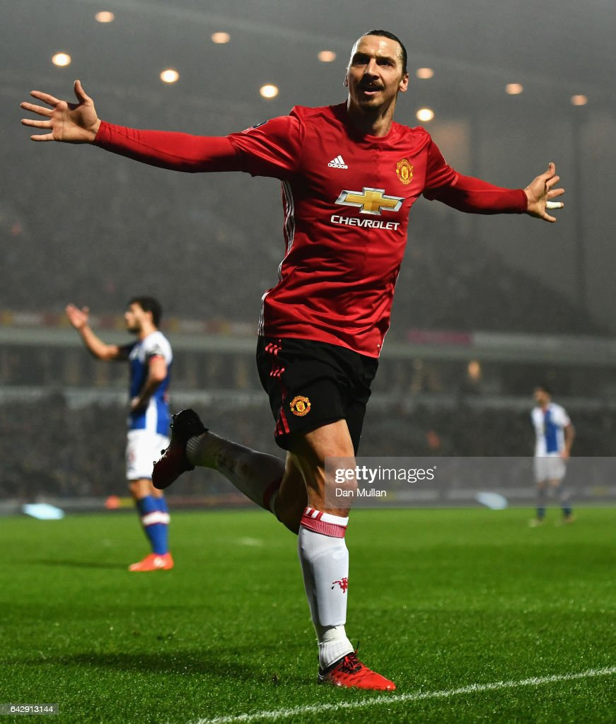 Zlatan Ibrahimovic of Manchester United celebrates as he scores their second goal during The Emirates FA Cup Fifth Round match between Blackburn Rovers and Manchester United at Ewood Park on February 19, 2017 in Blackburn, England.