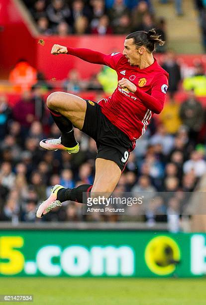 Zlatan Ibrahimovic of Manchester United celebrates his goal during the Premier League match between Swansea City and Manchester United at The Liberty...