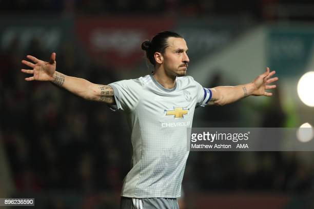 Zlatan Ibrahimovic of Manchester United celebrates scoring a goal to make the score 11 during the Carabao Cup QuarterFinal match between Bristol City...