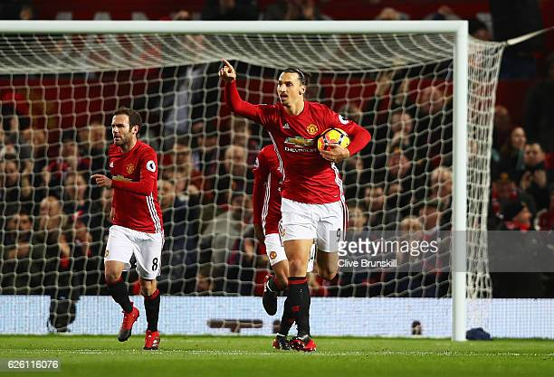 Zlatan Ibrahimovic of Manchester United celebrates scoring his sides first goal during the Premier League match between Manchester United and West...