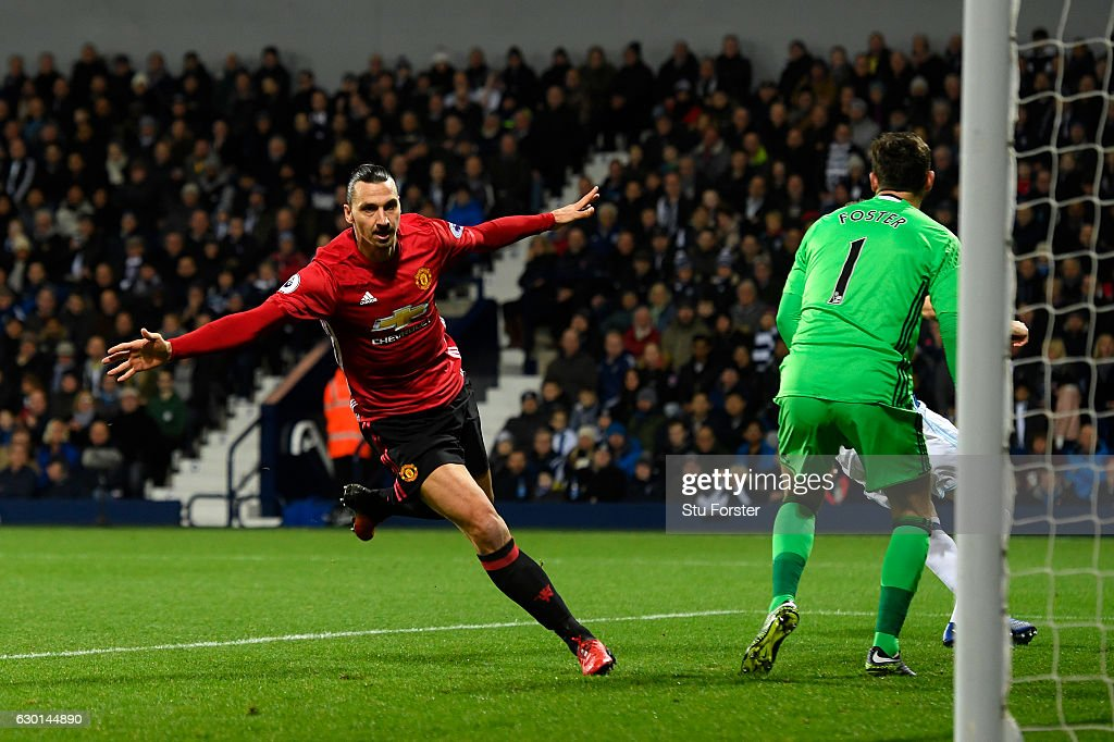Zlatan Ibrahimovic of Manchester United celebrates scoring his sides first goal during the Premier League match between West Bromwich Albion and Manchester United at The Hawthorns on December 17, 2016 in West Bromwich, England.
