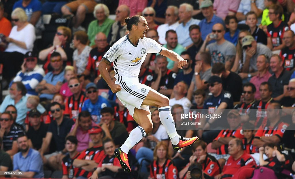 Zlatan Ibrahimovic of Manchester United celebrates scoring his team's third goal during the Premier League match between AFC Bournemouth and Manchester United at Vitality Stadium on August 14, 2016 in Bournemouth, England.