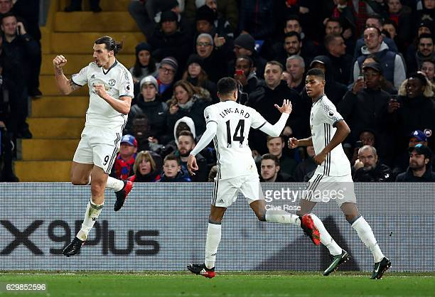 Zlatan Ibrahimovic of Manchester United celebrates scoring his team's second goal during the Premier League match between Crystal Palace and...