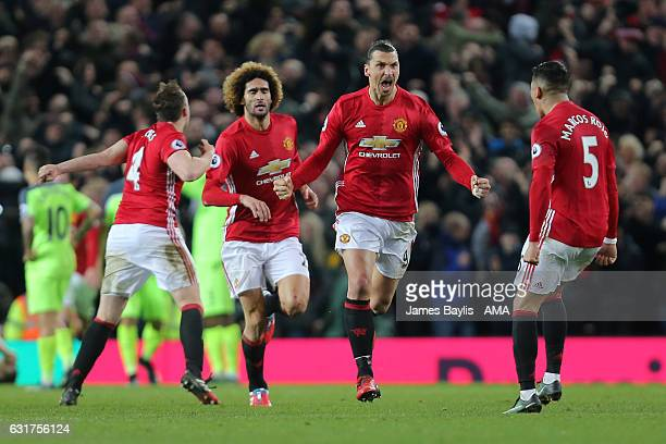 Zlatan Ibrahimovic of Manchester United celebrates scoring his team's first goal to make the score 11 during the Premier League match between...