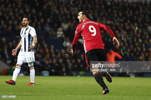 Zlatan Ibrahimovic of Manchester United celebrates scoring the second goal to make the score 0-2 during the Premier League match between West...