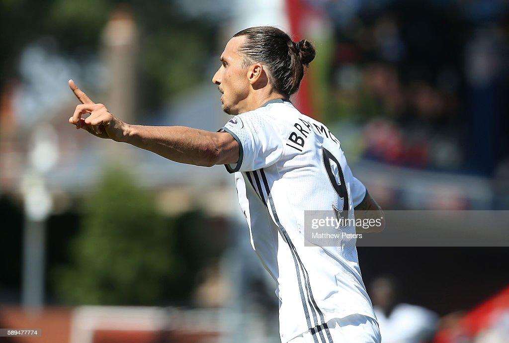 Zlatan Ibrahimovic of Manchester United celebrates scoring the third goal to make the score 0-3 during the Premier League match between AFC Bournemouth and Manchester United at Vitality Stadium on August 14, 2016 in Bournemouth, England.