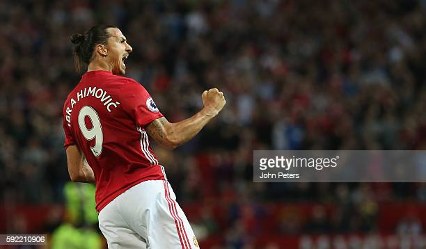 Zlatan Ibrahimovic of Manchester United celebrates scoring their first goal during the Premier League match between Manchester United and Southampton...