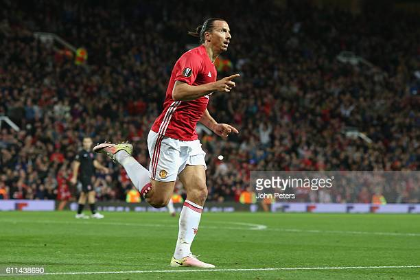 Zlatan Ibrahimovic of Manchester United celebrates scoring their first goalduring the UEFA Europa League match between Manchester United FC and FC...