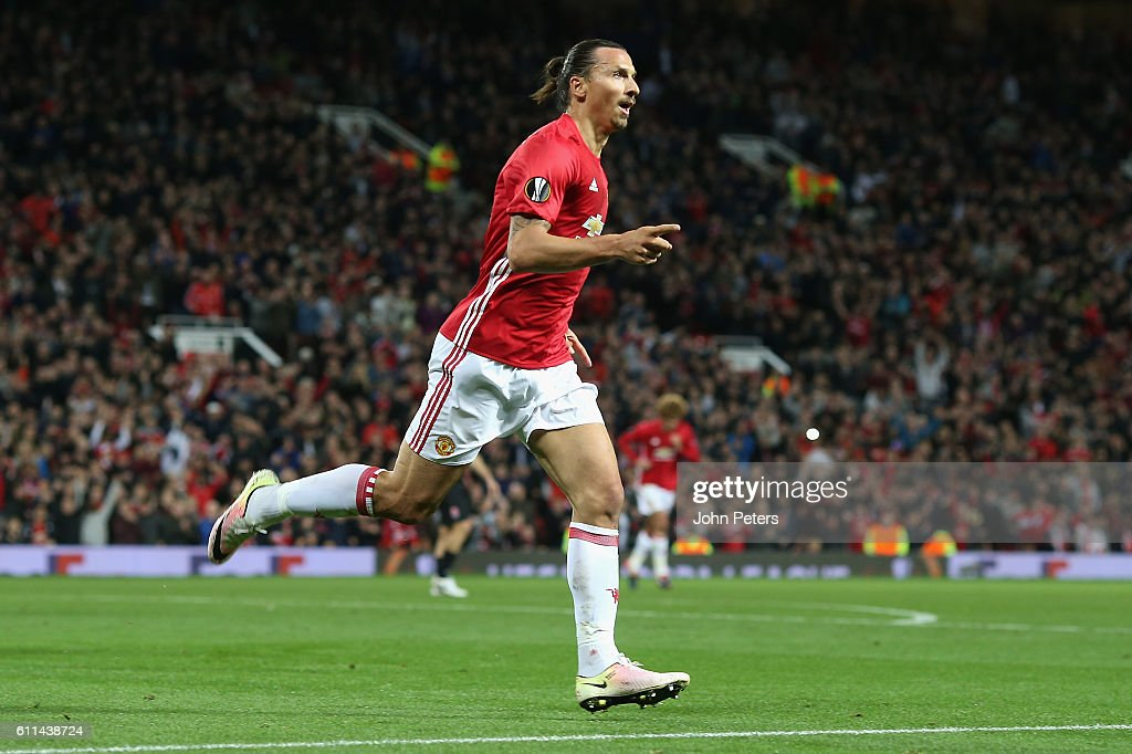 Zlatan Ibrahimovic of Manchester United celebrates scoring their first goalduring the UEFA Europa League match between Manchester United FC and FC Zorya Luhansk at Old Trafford on September 29, 2016 in Manchester, England.