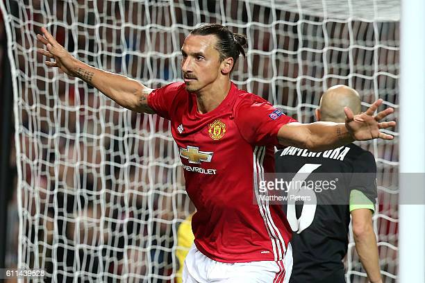Zlatan Ibrahimovic of Manchester United celebrates scoring their first goal during the UEFA Europa League match between Manchester United FC and FC...