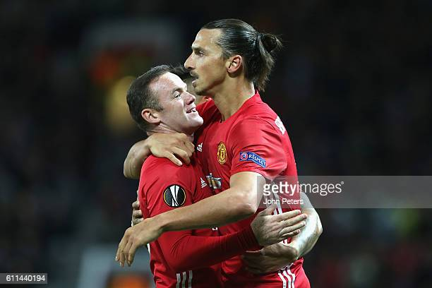 Zlatan Ibrahimovic of Manchester United celebrates scoring their first goal with Wayne Rooney during the UEFA Europa League match between Manchester...
