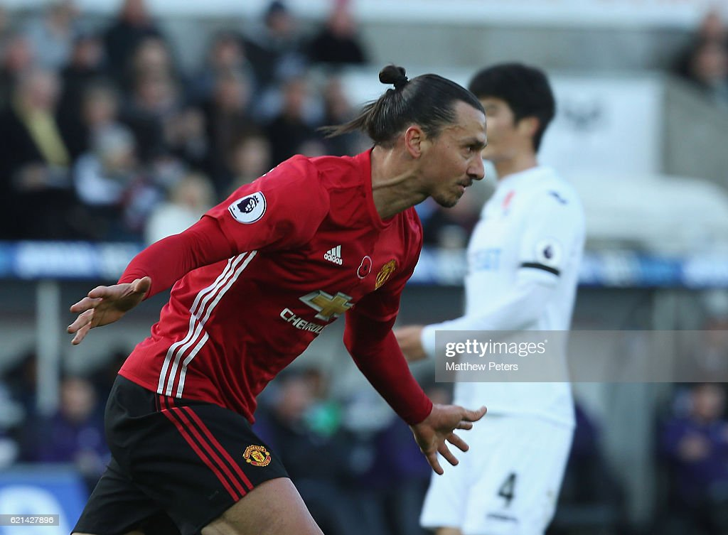 Zlatan Ibrahimovic of Manchester United celebrates scoring their third goal during the Premier League match between Swansea City and Manchester United at the Liberty Stadium on November 6, 2016 in Swansea, Wales.