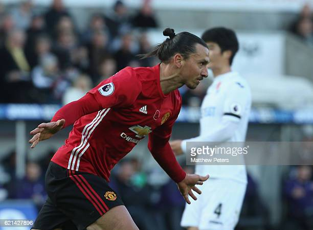 Zlatan Ibrahimovic of Manchester United celebrates scoring their third goal during the Premier League match between Swansea City and Manchester...