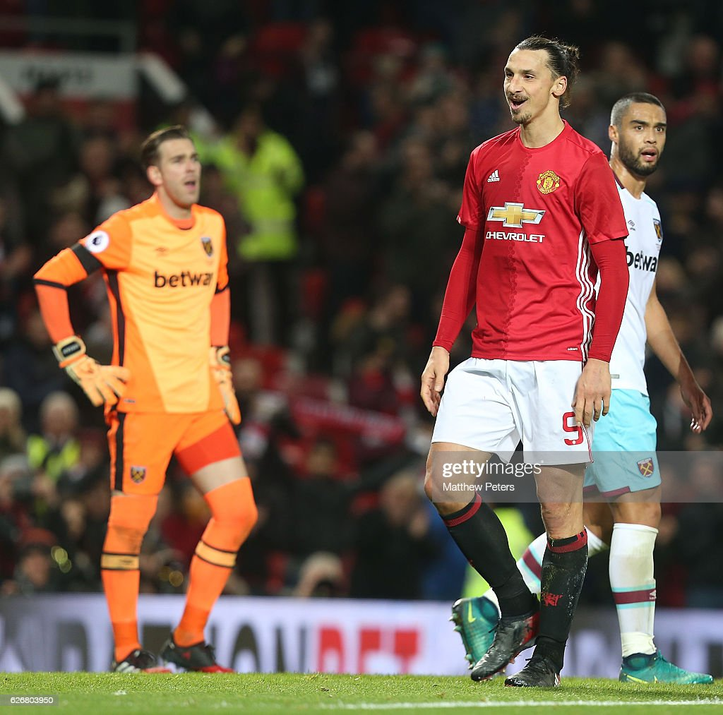 Zlatan Ibrahimovic of Manchester United celebrates scoring their fourth goal during the EFL Cup Quarter-Final match between Manchester United and West Ham United at Old Trafford on November 30, 2016 in Manchester, England.