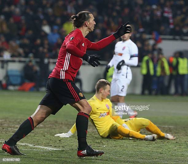 Zlatan Ibrahimovic of Manchester United celebrates scoring their second goal during the UEFA Europa League match between FC Zorya Luhansk and...