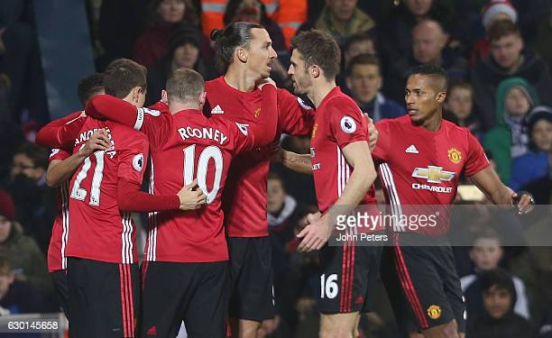 Zlatan Ibrahimovic of Manchester United celebrates scoring their first goal during the Premier League match between West Bromwich Albion and...
