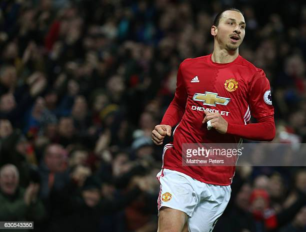 Zlatan Ibrahimovic of Manchester United celebrates scoring their second goalduring the Premier League match between Manchester United and Sunderland...