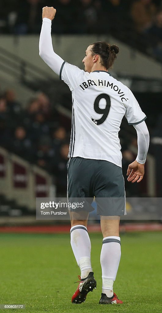 Zlatan Ibrahimovic of Manchester United celebrates scoring their second goal during the Premier League match between West Ham United and Manchester United at London Stadium on January 2, 2017 in Stratford, England.