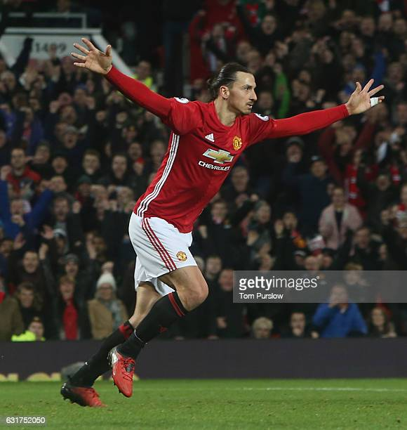 Zlatan Ibrahimovic of Manchester United celebrates scoring their first goal during the Premier League match between Manchester United and Liverpool...