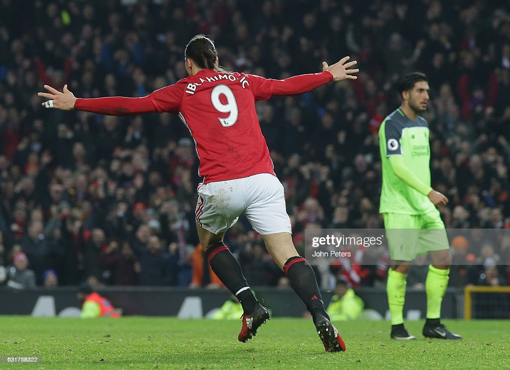 Zlatan Ibrahimovic of Manchester United celebrates scoring their first goal during the Premier League match between Manchester United and Liverpool at Old Trafford on January 15, 2017 in Manchester, England.